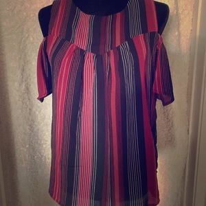 Monteau Blouse Top Off-Shoulder Red/Black NWT Med